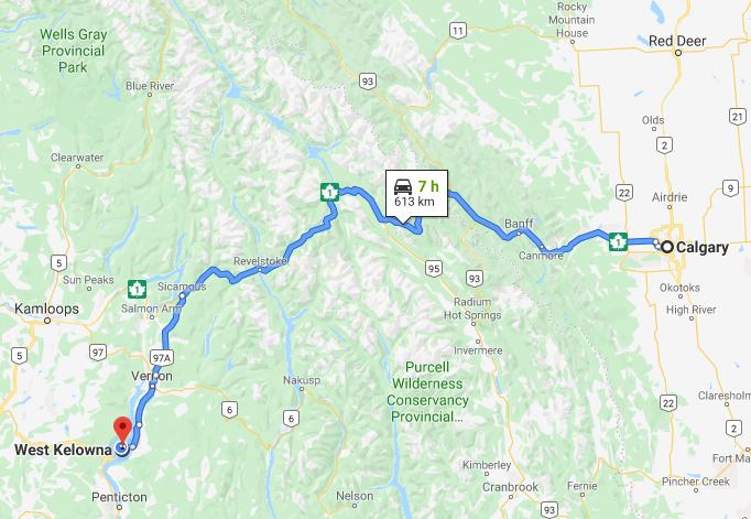 Calgary to Kelowna Road Trip