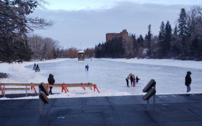 Self Catch on Ice Skates Around Building